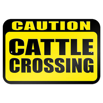 "Caution Cattle Crossing 9"" x 6"" Metal Sign"
