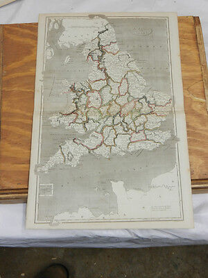 1819 Antique COLOR Map//ENGLAND AND WALES