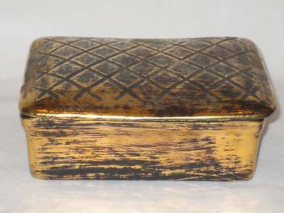 GREAT VINTAGE HAND PAINTED STANGL POTTERY BLACK GOLD TRINKET-JEWELRY BOX #3630!