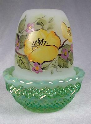 Fairy Glimmer Light Lamp with Painted Flowers and Green Carnival Base