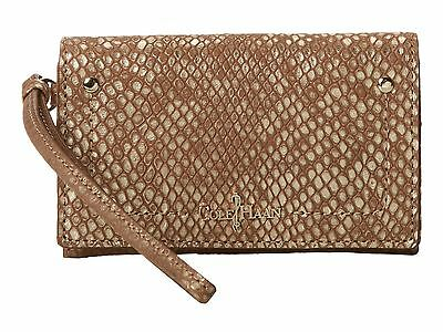 27bb7be097d Cole Haan Parker Exotic Tech Snap Leather Wallet Wristlet Brown Gold  Metallic