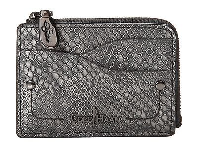 COLE HAAN PARKER LEATHER WALLET CARD CASE BLACK GRAY SILVER METALLIC SNAKE