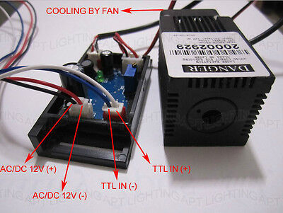 12V 650nm~660nm 150mW Red laser diode module With TTL driver board with Fan