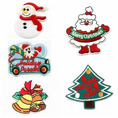 6pcs Christmas Holiday Embroidered Iron/Sew ON Patch Kids Cloth Sew Applique