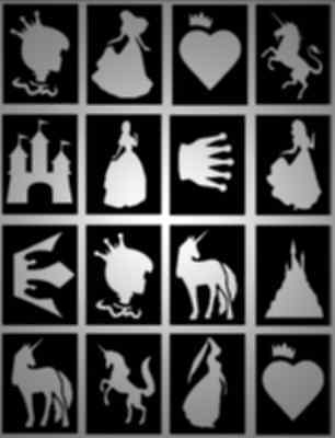 16 x Princess Glitter Tattoo stencils, great for princess parties