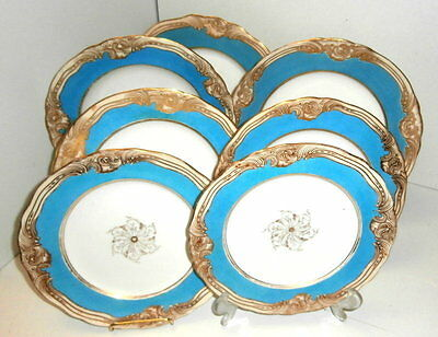 1881 Coalport Robins Egg Blue and Gilt Dinnerware 6 Pieces Available