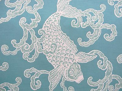 HOT! HIGH END DESIGNER CHINOISERIE AQUA WHITE FISH UPHOLSTERY DRAPERY FABRIC BTY