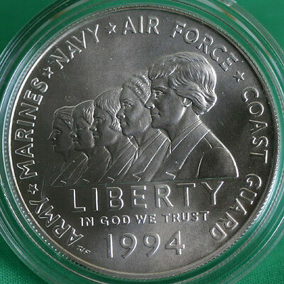 1994 US Mint Women in Military Service BU Silver Dollar Commemorative Coin ONLY