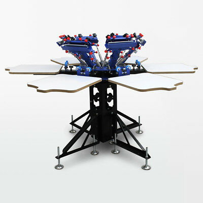 6x6 Screen printing carousel for six colored ink machine T-Shirt