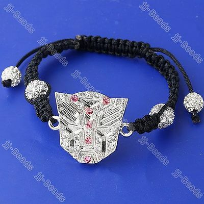 1pc Pink Clear Crystal Transformers Symbol Woven Disco Beads Macrame Bracelet