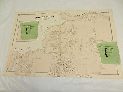1874 Antique COLOR Map Middlesex County/NORTH PART OF SOUTH FARMS, MIDDLETOWN,CT