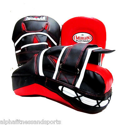 Morgan Pro Boxing Focus Pads Pair Punch Curved  Pre Bent Mitts Gloves MMA UFC