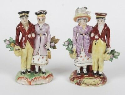 Antique Pair Of Early 19Th Century Walton? Staffordshire Picnicking Couples