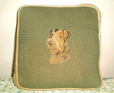 VINTAGE Handmade AIREDALE TERRIER Needlepoint & Petit Point SQUARE PILLOW