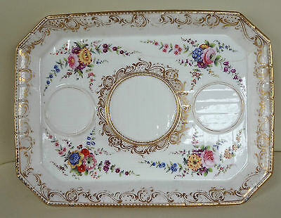 Beautiful Hand Painted Sevres Porcelain Inkwell Tray