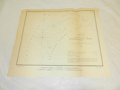 1853 Coast Guard Map///PUNGOTEAGUE CREEK ENTRANCE FROM CHESAPEAKE BAY, VIRGINIA
