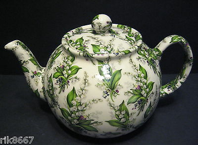 Heron Cross Pottery Lilly Of The Valley Chintz 6-8 Cup English Tea Pot