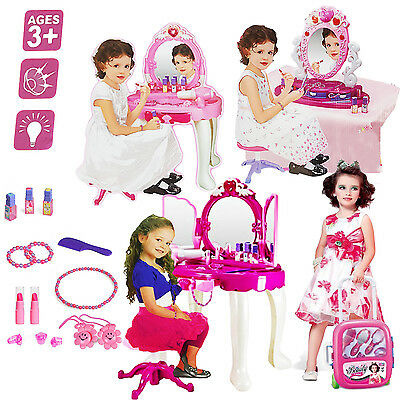 Girls Glamour Mirror Dressing Table Mirror Play Set Kids Makeup Game Toy Present