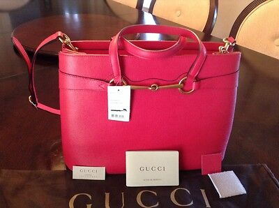 ab0a67d53cce GUCCI BRIGHT Bit Medium Leather Tote Bag, Fuschia Pink - $1,450.00 ...