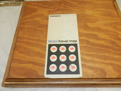 1972 INDIANA MOBIL Gasoline Company Folded Road Map