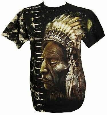 T-Shirt Tye Dye Indian Chief With Wolves On Reverse (Select Your Size)