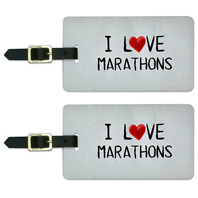 I Love Marathons Written on Paper Luggage Suitcase Carry-On ID Tags Set of 2