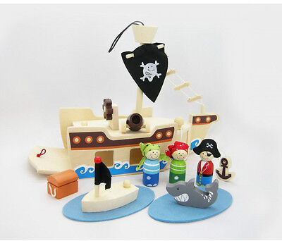 Kaper Kidz Children's Wooden Pirate Ship Pretend Play Playset! 12 pieces!