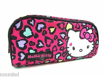 """Hello Kitty Pink Hearts Make Up Accessories Bag ~ 8""""L x 3.5""""H x 2""""D (US SELLER)"""