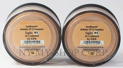 BARE MINERALS ESCENTUALS SPF 15 Foundation - LIGHT W15 8G - XLL    PACK OF 2