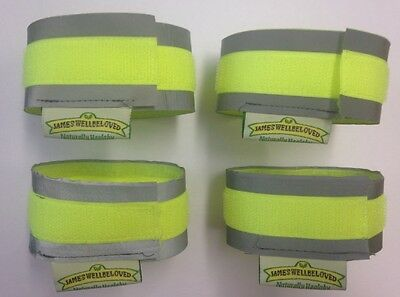 Equestrian Equine Reflective Hi Vis Cuffs Strips Fluorescent Protection Straps