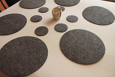 Placemats Coaster Simple Shape Circle Felt Table Mats Set 2 pieces HandMade Eire