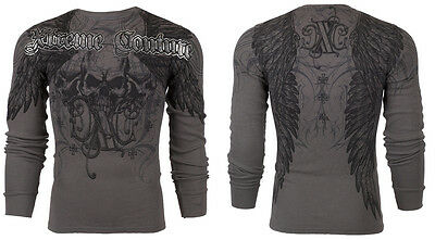 Xtreme Couture AFFLICTION Men THERMAL T-Shirt OVER THE TOP Biker M-3XL $58 a