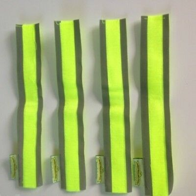 Set of 4 high visibility reflective velcro safety bands ,cycling,walking,animals