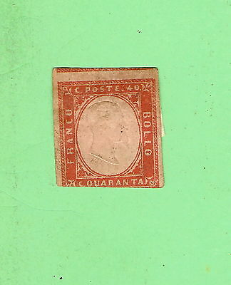 #d136. Imperforate Embossed 40 Cent  Stamp - Italy, 1853