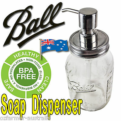1 x Soap Dispenser, Ball Mason Pint Jar Stainless Steel Pump Lid