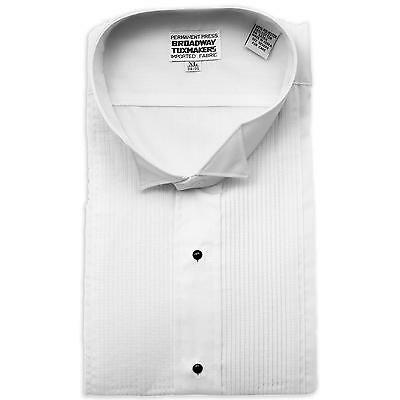 Mens White Pleated Tuxedo Shirt, Formal Wing Collar- FREE BOW TIE- NEW-ALL SIZES