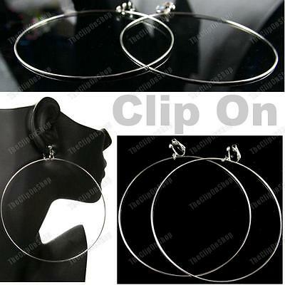 """CLIP ON GIANT SIZE 4""""HOOPS 10cm thin hoop EARRINGS white gold plated SILVER TONE"""
