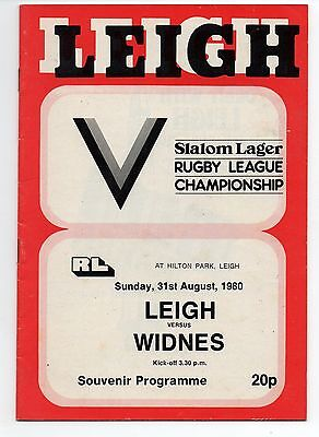 LEIGH v WIDNES. 31st August 1980.