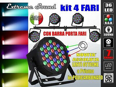 4 PAR LED RGB 36 x 3 W Extreme Sound ALTA LUMINOSITA DMX STROBO Display + BARRA