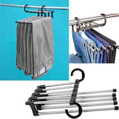 Save Space Travel 5 in 1 Retractable Pants Rack Trouser Ties Scarf Shawls Hanger