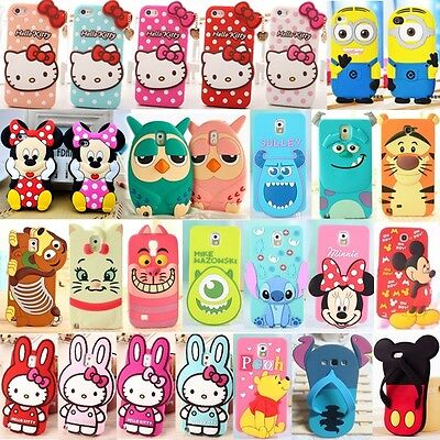 Cute 3D Cartoon Soft Silicone Case Cover For iPhone and Samsung Galaxy Models