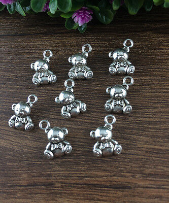 Wholesale 10pcs Tibet silver Bear Charm Pendant beaded Jewelry Findings