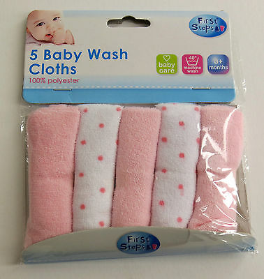 Pink  Baby Wash Cloths - Pack Of 5