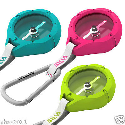 Silva Sweden Metro Compass With Carabineer 36906, White, Pink, Green & Turqouise