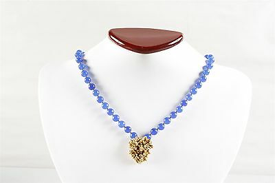 Vintage Vivid Blue Quartz and Freeform Golden Pendant Necklace