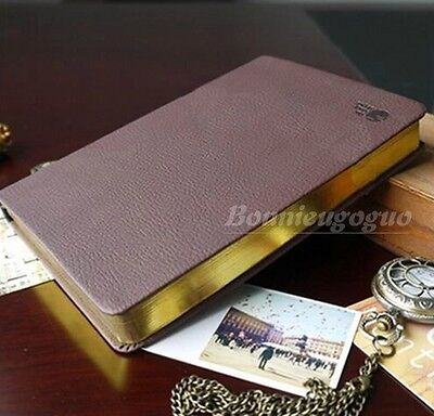 Vintage PU Leather Classic Notebook Blank Diary Journal Retro Note Book Golden