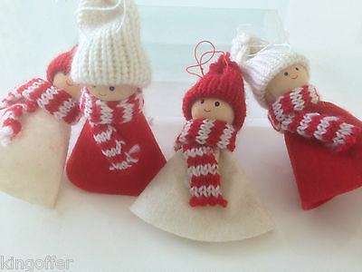 Set of 4 hanging red and white knitted and felt girl xmas decorations