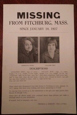 1927 Original Missing Poster From Fitchburg, Mass.