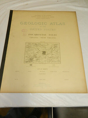 1896 USGS GEOLOGIC FOLIO No.26/POCAHONTAS Quadrangle/4 Full-Page Maps/WV