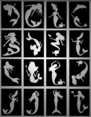 MERMAID glitter tattoo stencils, DOLPHIN,SEAHORSE,TURTLE,SHELL,etc pack of 32
